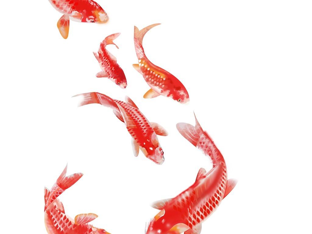 金鱼背景墙中式无框画手绘无框画