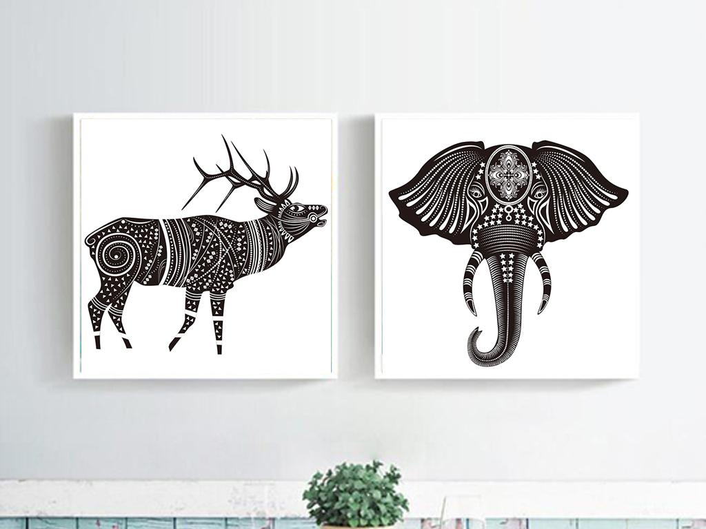 北欧创意麋鹿时尚无框画(图片编号:15616278)_动物无