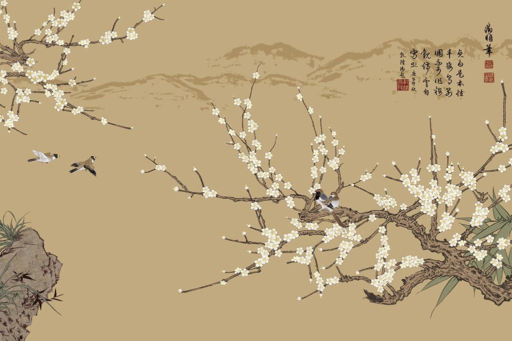 工笔画梅花中式背景墙
