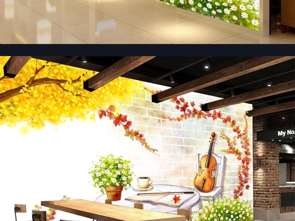 手绘小清新音乐咖啡风景背景墙