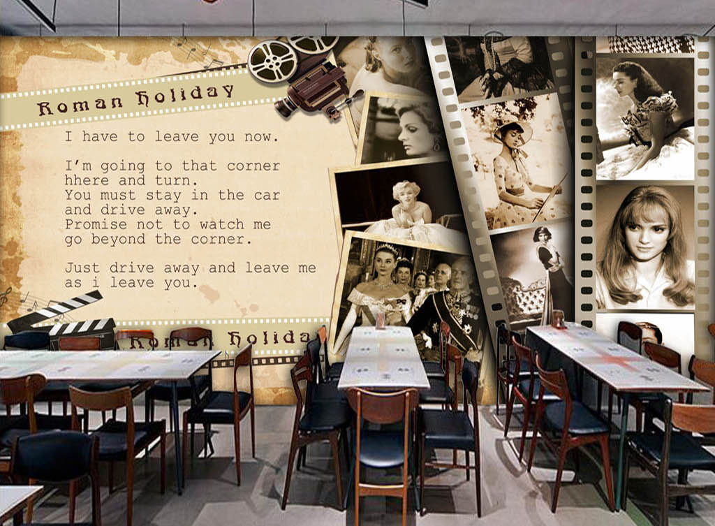 墙手绘咖啡店酒吧西餐厅ktv相框梦露赫本美女怀旧复古电影胶片放映机