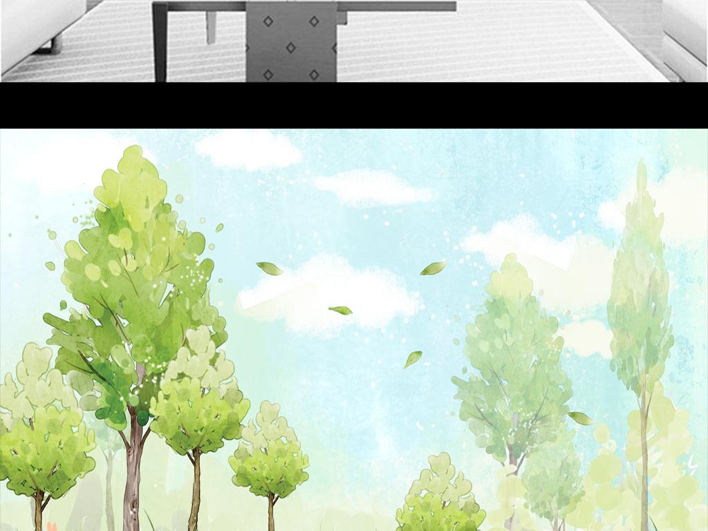 水彩树                                  树林手绘
