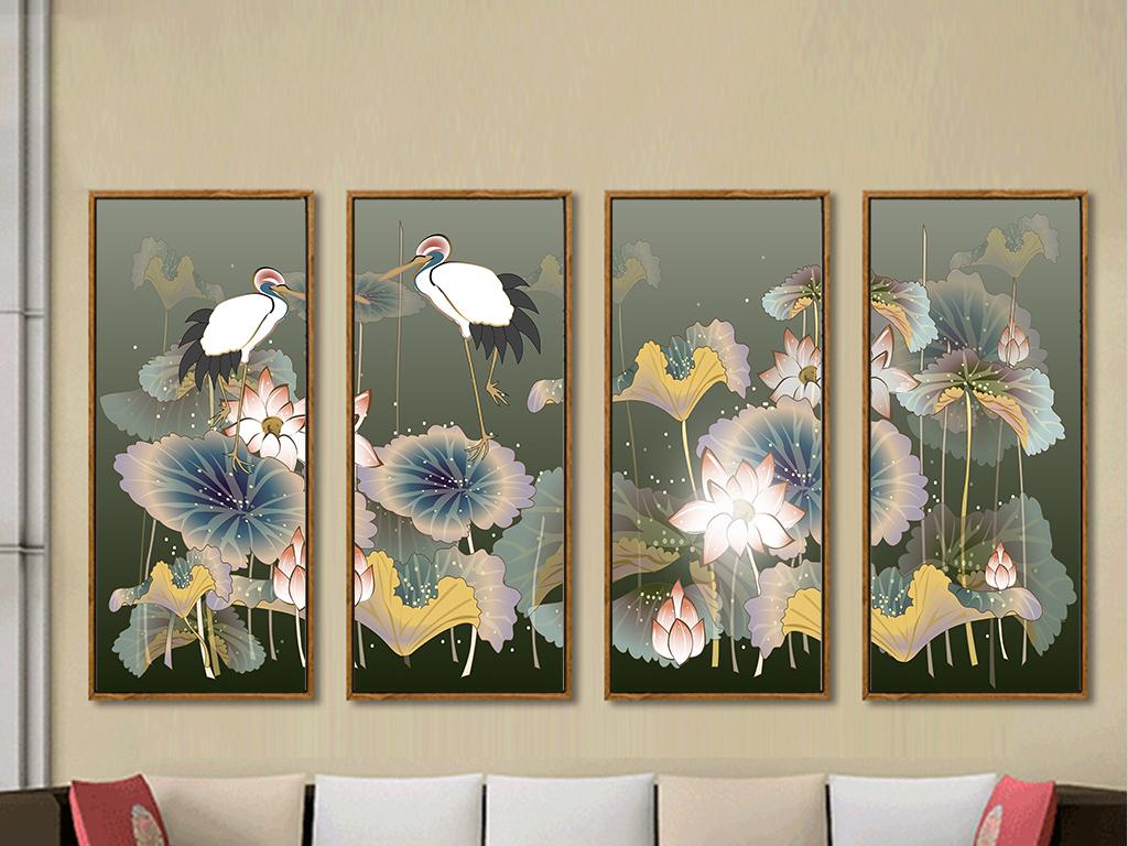 顶鹤四条屏装饰画
