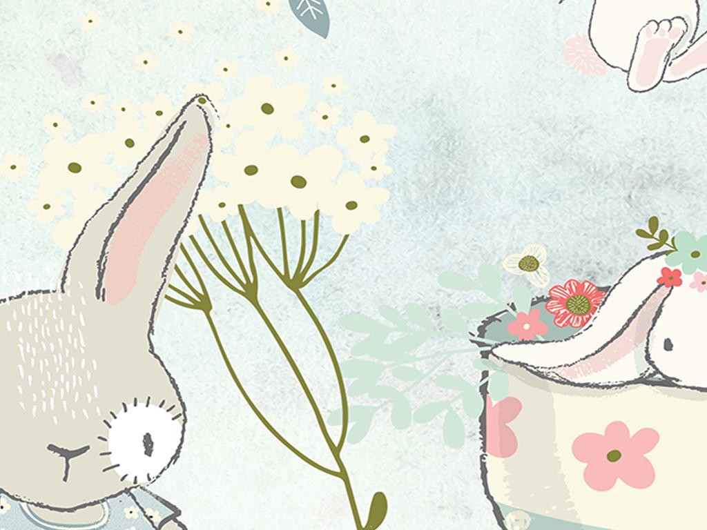 北欧简约时尚素雅气球小兔子儿童房背景墙