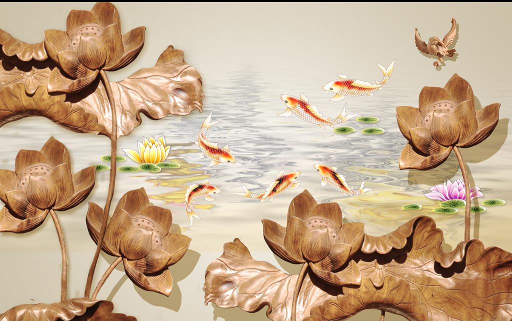 3d立体木雕荷花电视背景墙