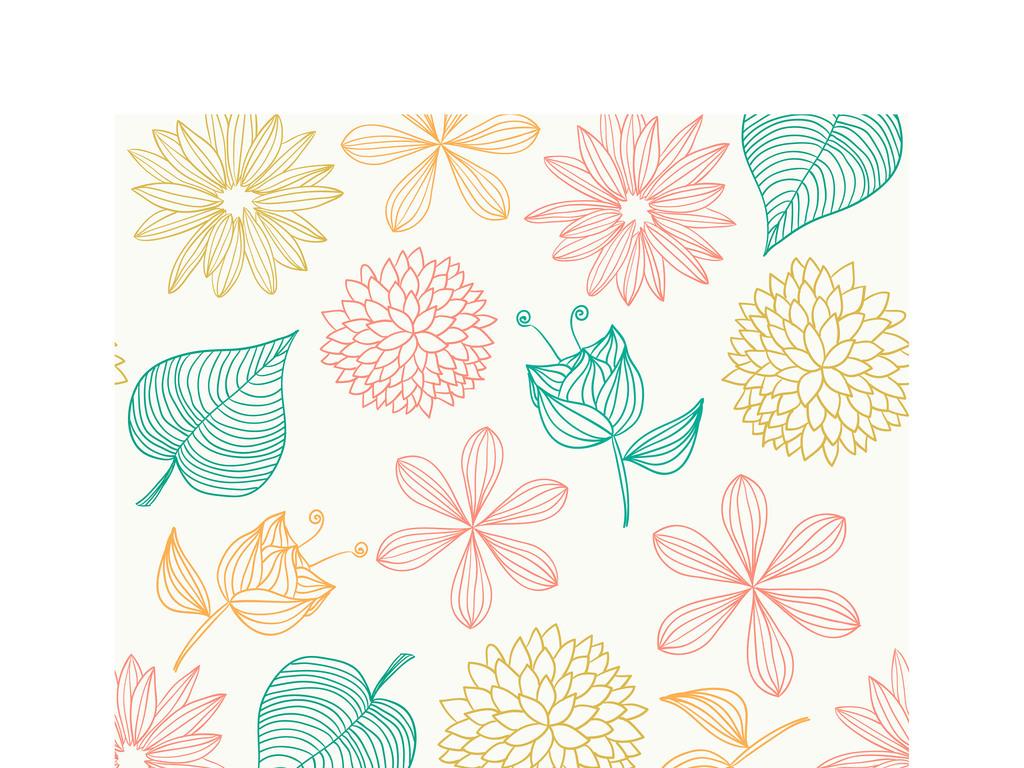 ai)手绘花朵树叶                                  手绘墙纸
