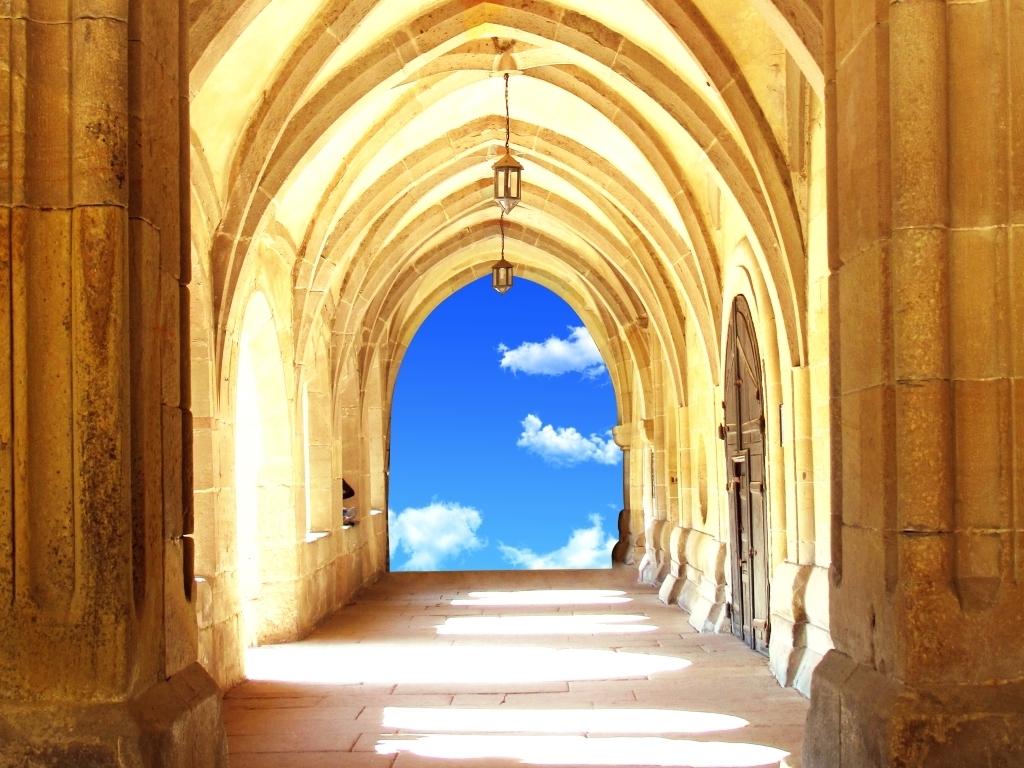 欧式复古罗马柱拱门过道3d玄关壁画