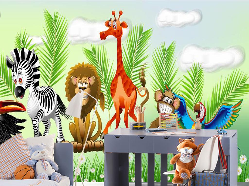 儿童房卡通漫画插图动物森林