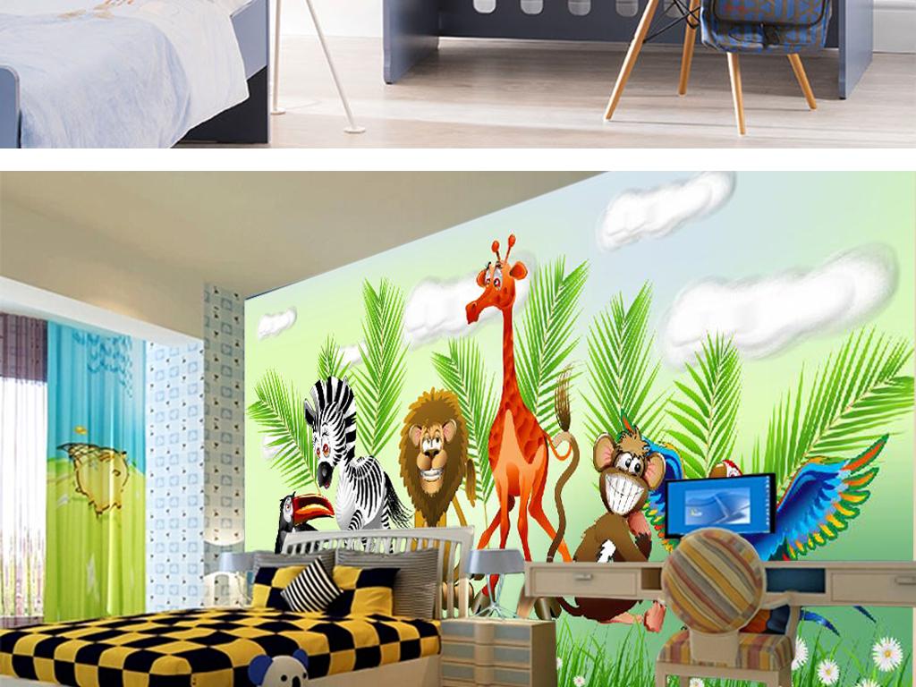 森林卡通动物儿童房