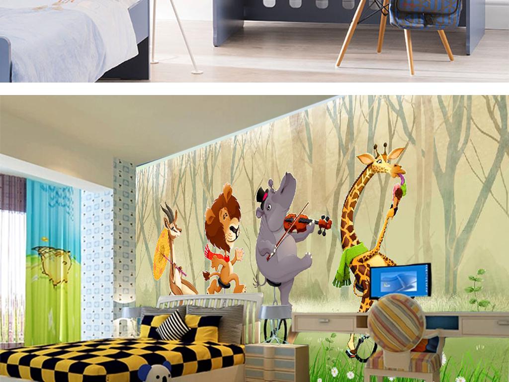 独轮车动物音乐儿童房背景墙(图片编号:15618382)_房