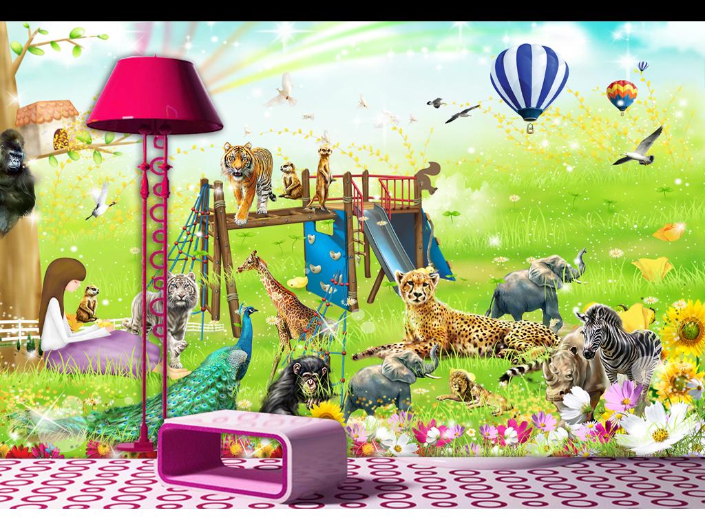 动物总动员唯美儿童房小孩房背景墙壁画