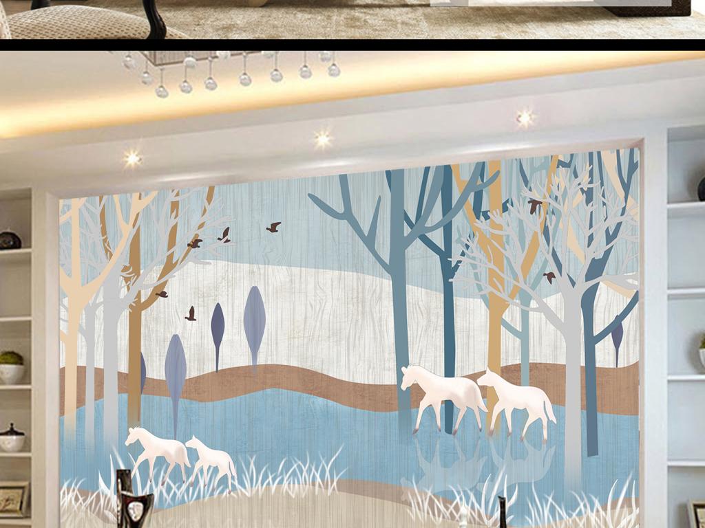 怀旧抽象手绘树林抽象马电视背景墙
