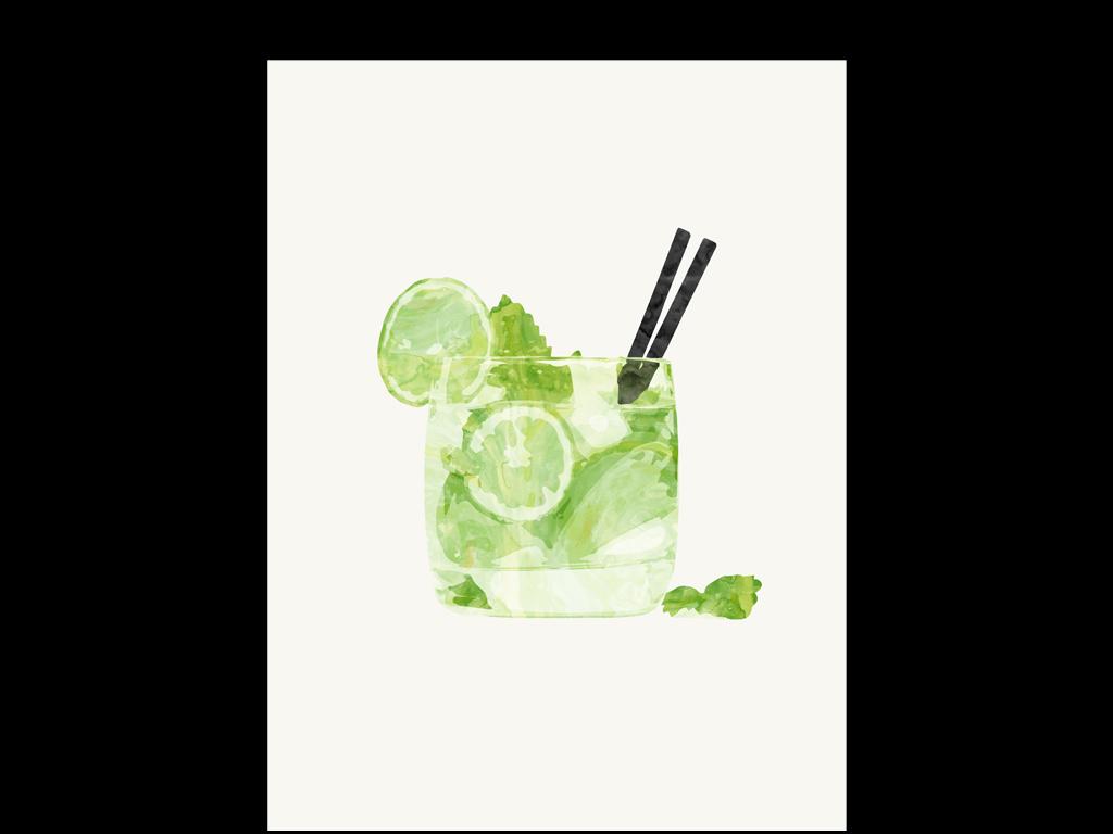 水彩手绘复古欧式鸡尾酒饮料酒杯高脚杯柠檬果汁餐厅进口画芯欧美画芯