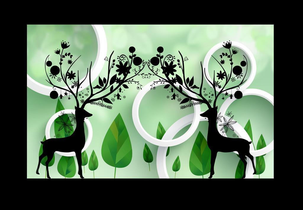 抽象3d圆圈圈树麋鹿电视背景墙装饰画图片