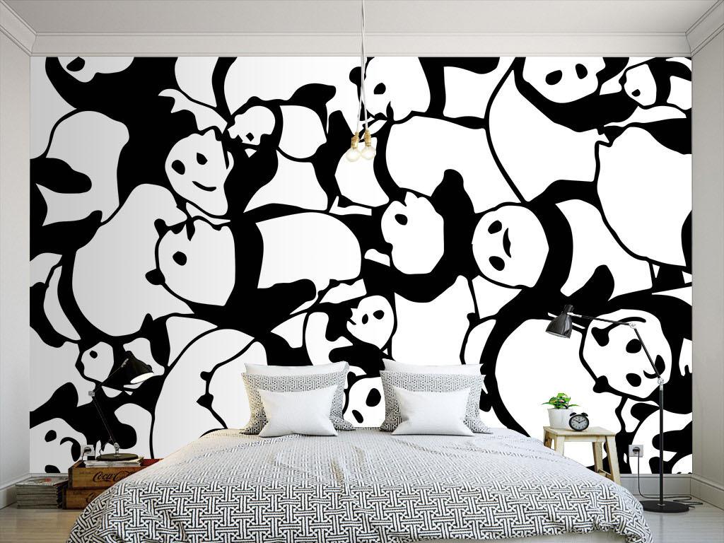 现代简约黑白熊猫墙纸