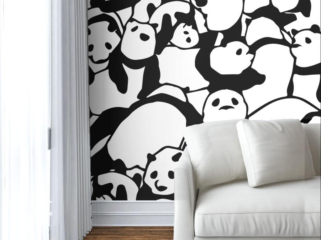 背景墙|装饰画 墙纸 现代简约墙纸 > 现代简约黑白熊猫墙纸  版权图片图片