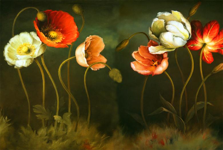 抽象手绘油画郁金香虞美人图片