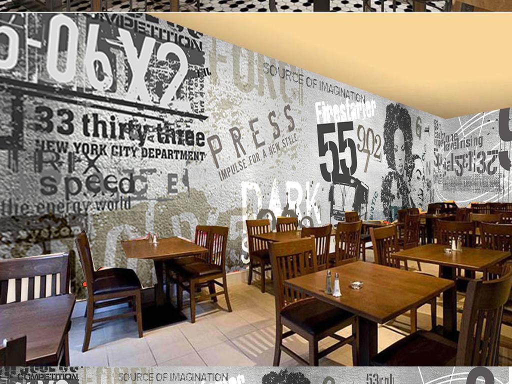 欧美水泥墙街头涂鸦酒吧ktv背景装饰墙图片