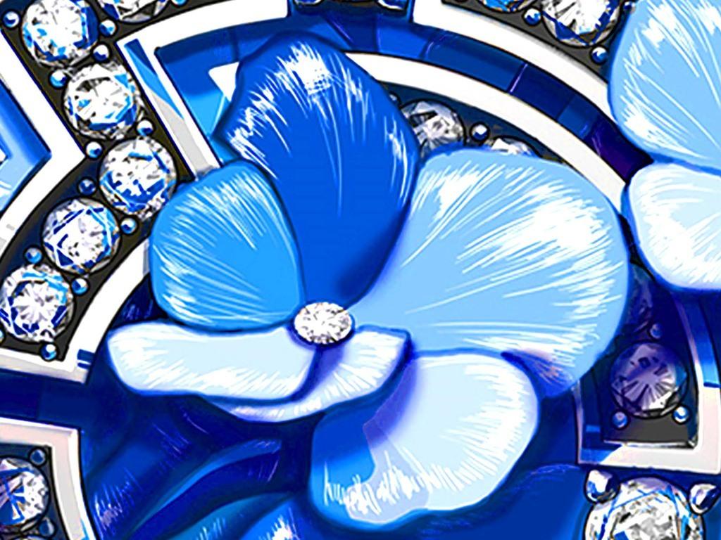 蓝色宝石花卉天花吊顶壁画(图片编号:15619855)
