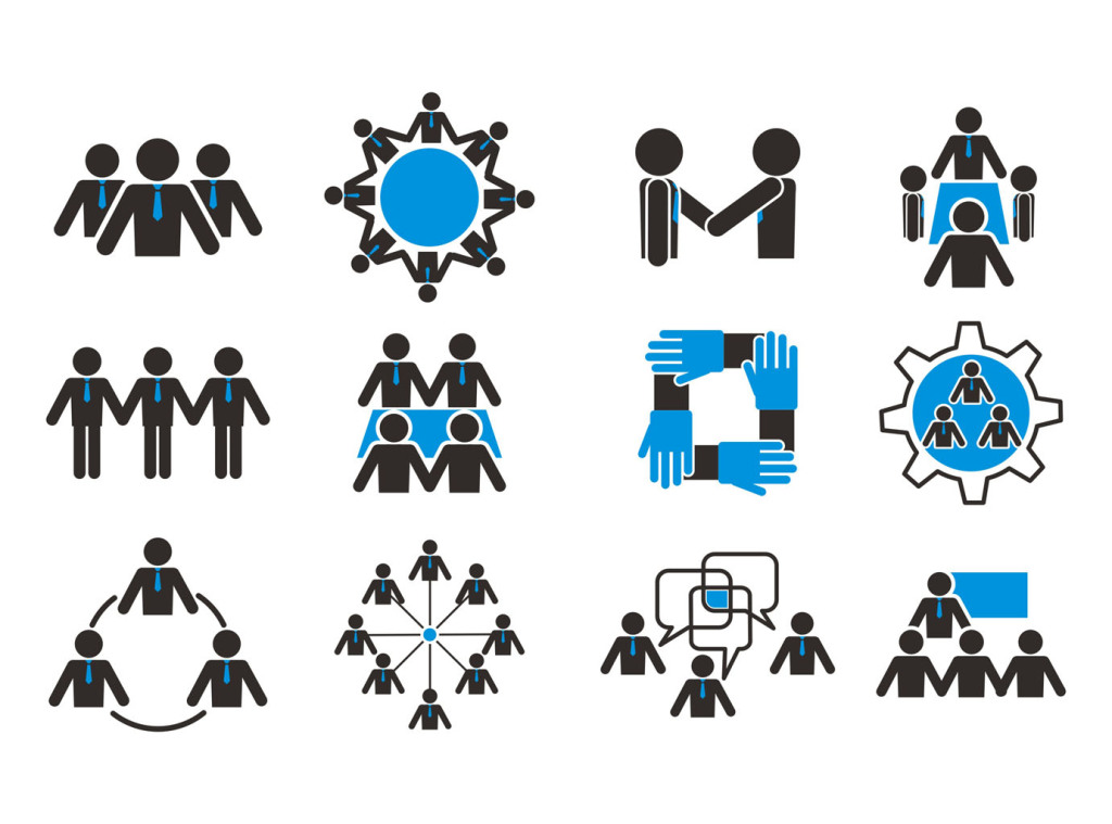 团队人物矢量素材人物图标合作