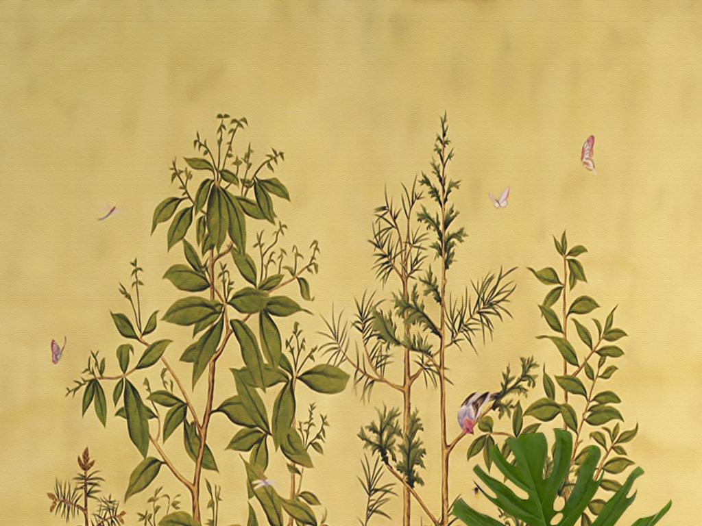 欧式手绘雨林花鸟树木兔子新中式壁画玄关