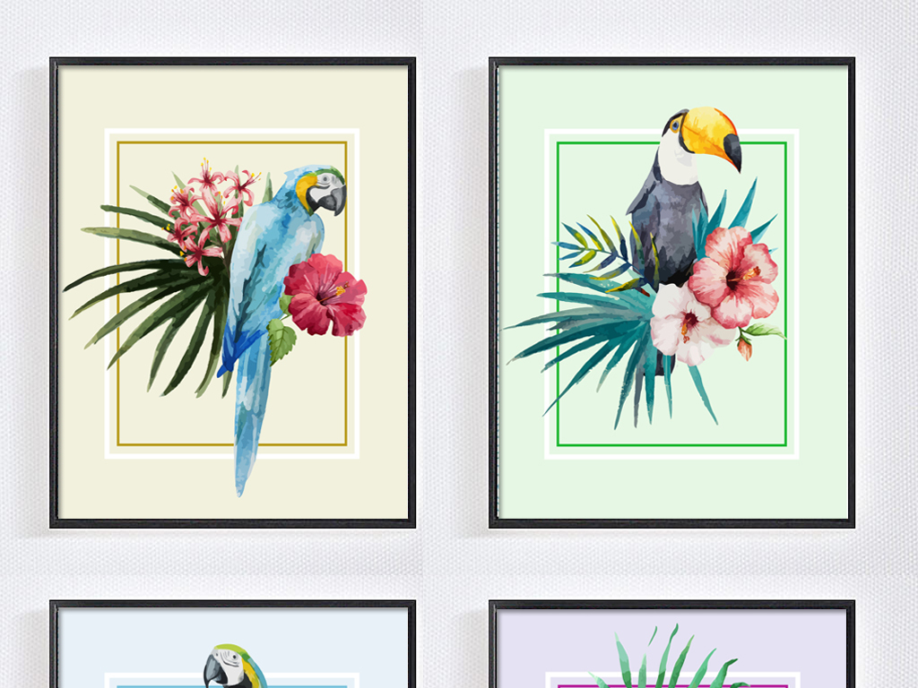 矢量花卉鹦鹉四联画东南亚热带装饰画无框画