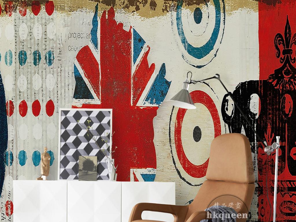 北欧简约时尚复古英伦抽象图案手绘墙纸壁画