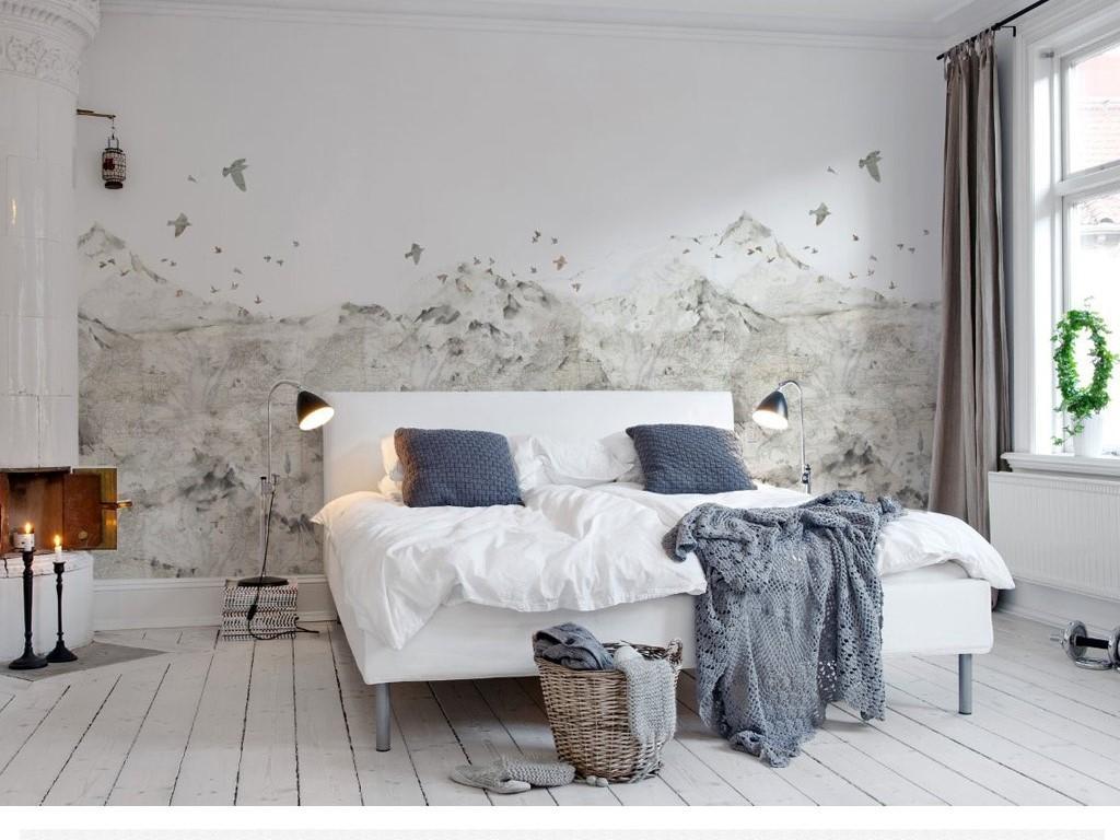 极简现代北欧风格飞鸟大山素色电视背景墙图片