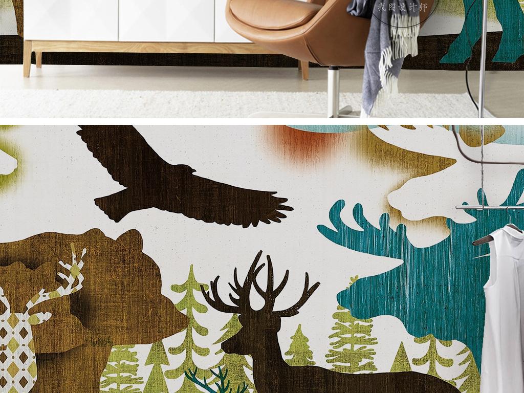 手绘动物世界卡通绘画鹿老鹰犀牛儿童背景墙