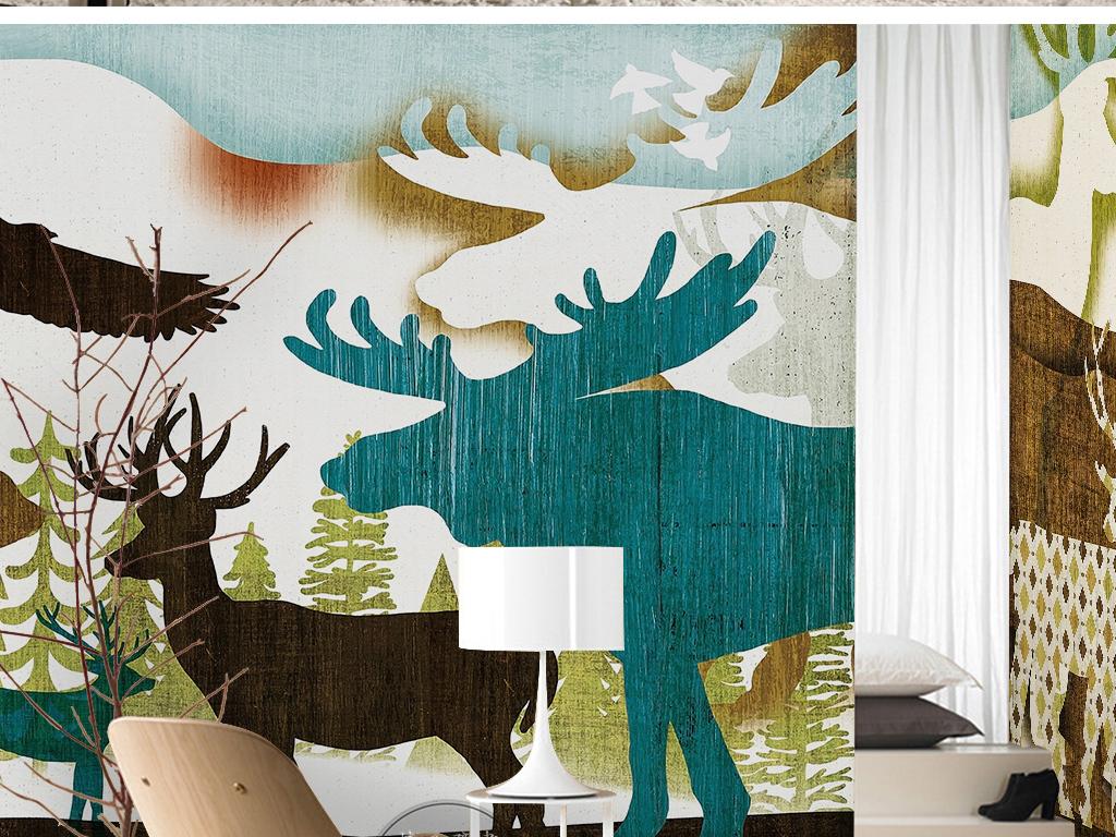 手绘动物世界卡通绘画鹿老鹰犀牛儿童背景墙(图片编号
