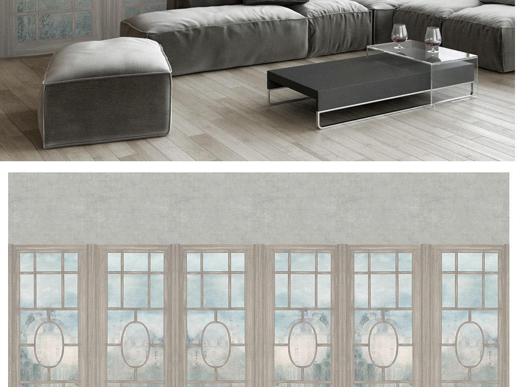 3d油画素色儒雅新中式屏风窗户电视背景墙图片