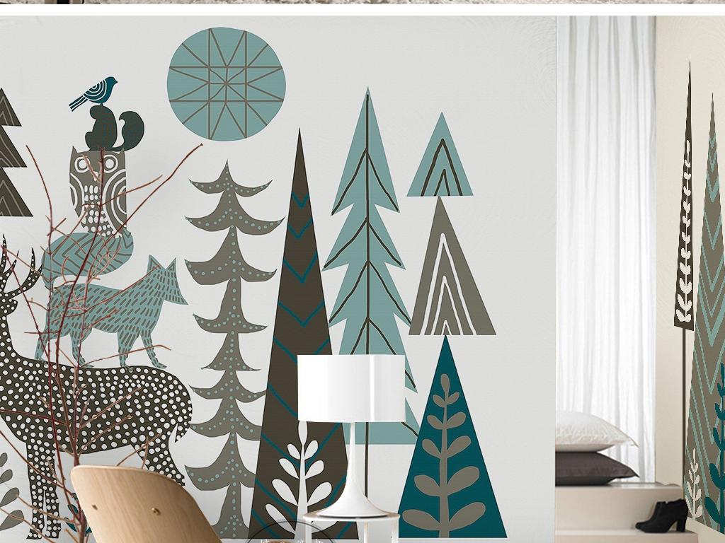 卡通手绘树林抽象树木鹿小树现代