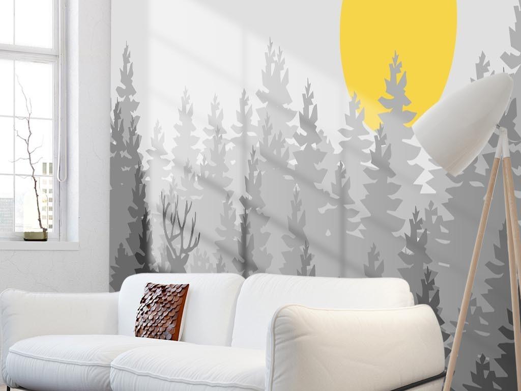 北欧简约抽象森林麋鹿电视背景墙