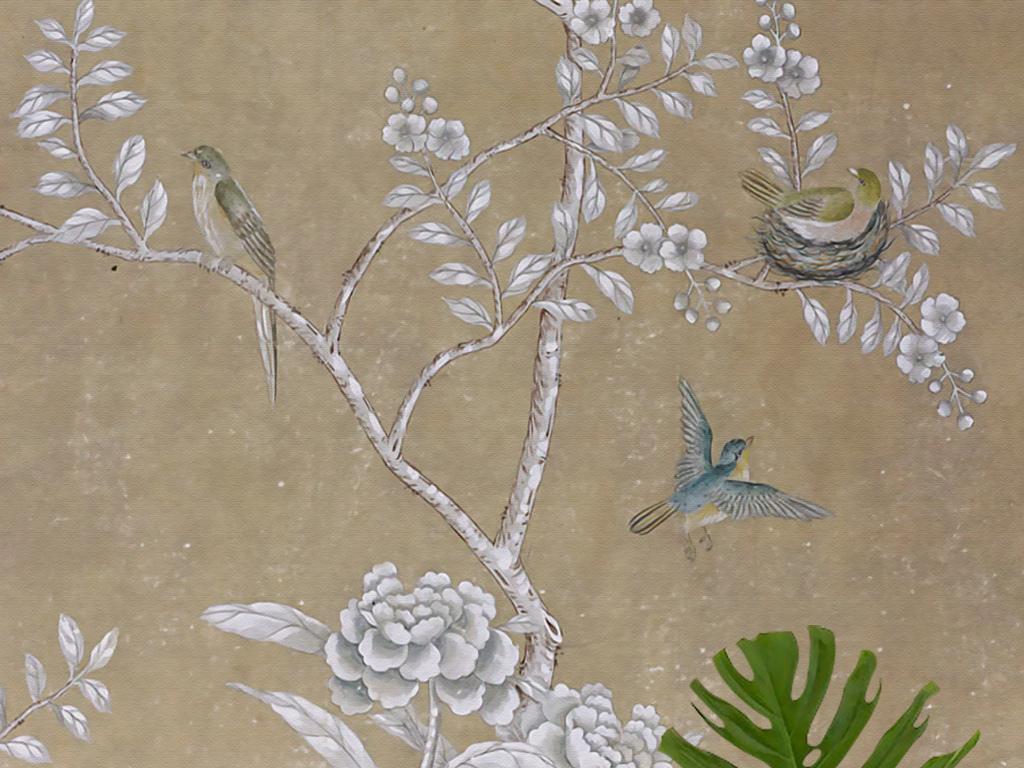 欧式手绘工笔花鸟牡丹做旧新中式壁画玄关