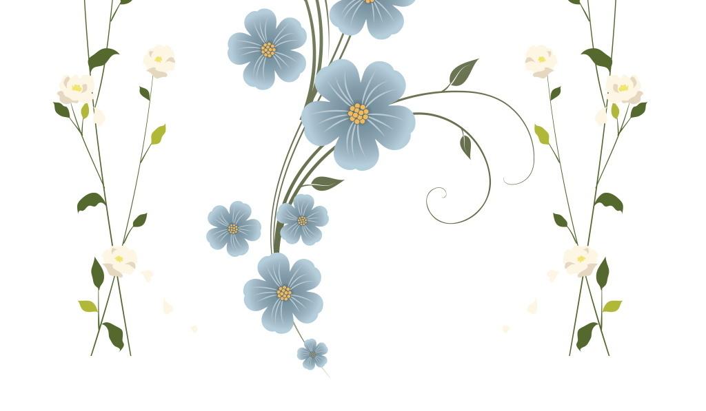 简约简洁小清新蓝白色鲜花花藤精美花纹设计