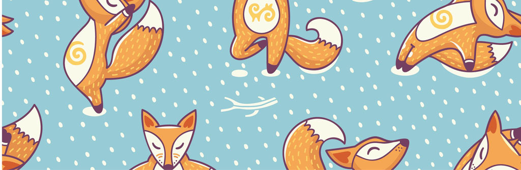卡通狐狸卡通动物图案练瑜伽的狐狸卡通松鼠
