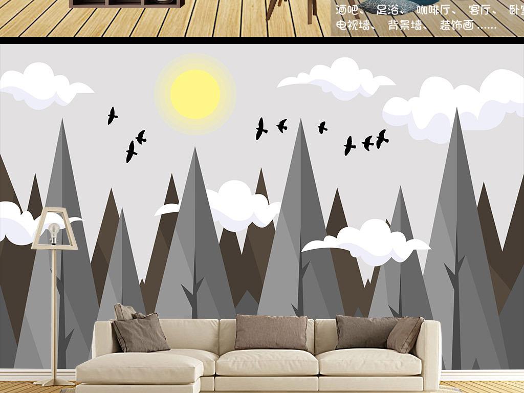 北欧风格树林山峰背景墙装饰画墙纸