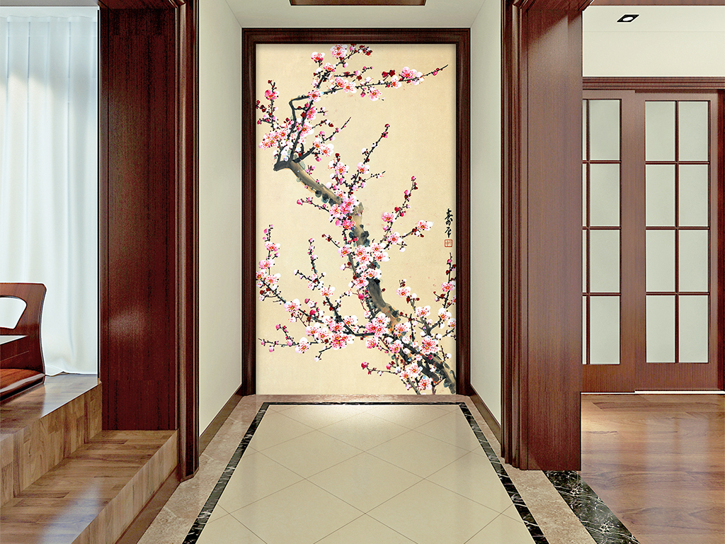 高清梅花中式玄关装饰画图片