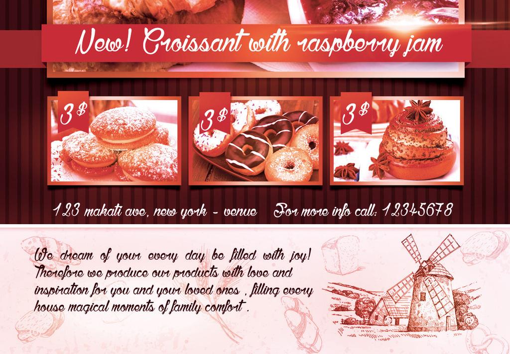 手绘欧式高档面包店烘焙坊开业促销宣传海报