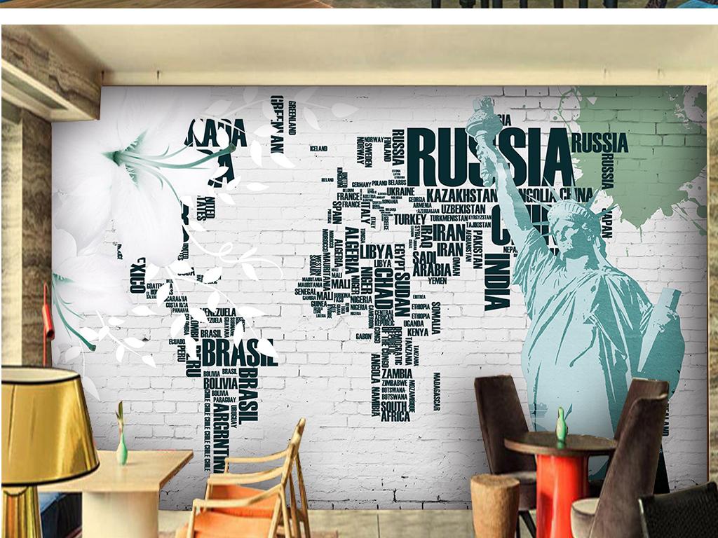 自由女神世界地图背景墙