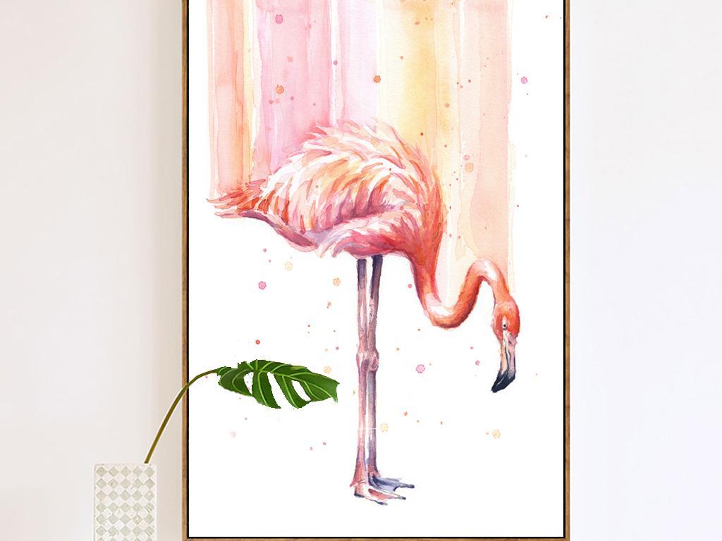 手绘水彩水墨抽象油画火烈鸟