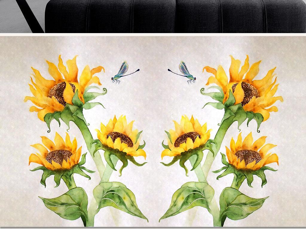 手绘北欧简约清新向日葵水彩壁画no871