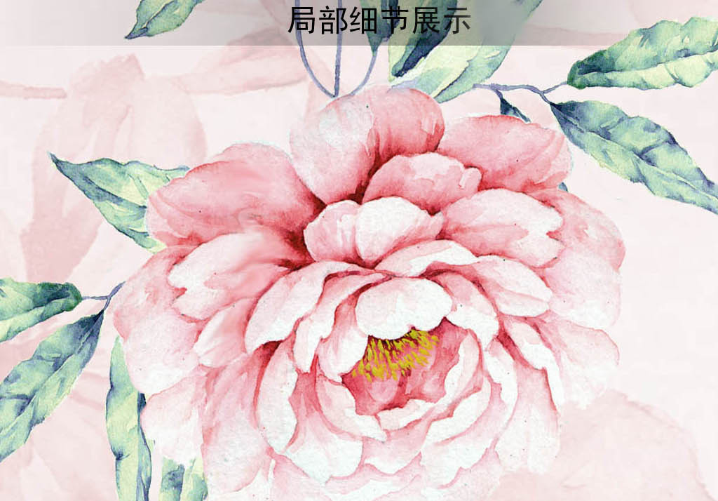 小清新手绘粉色浪漫牡丹花枝电视背景墙