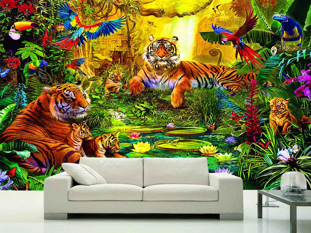 老虎一家王莲睡莲森林唯美欧美风背景墙壁画