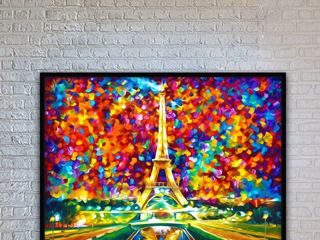 夜色下的巴黎埃菲尔铁塔风景唯美绚丽装饰画