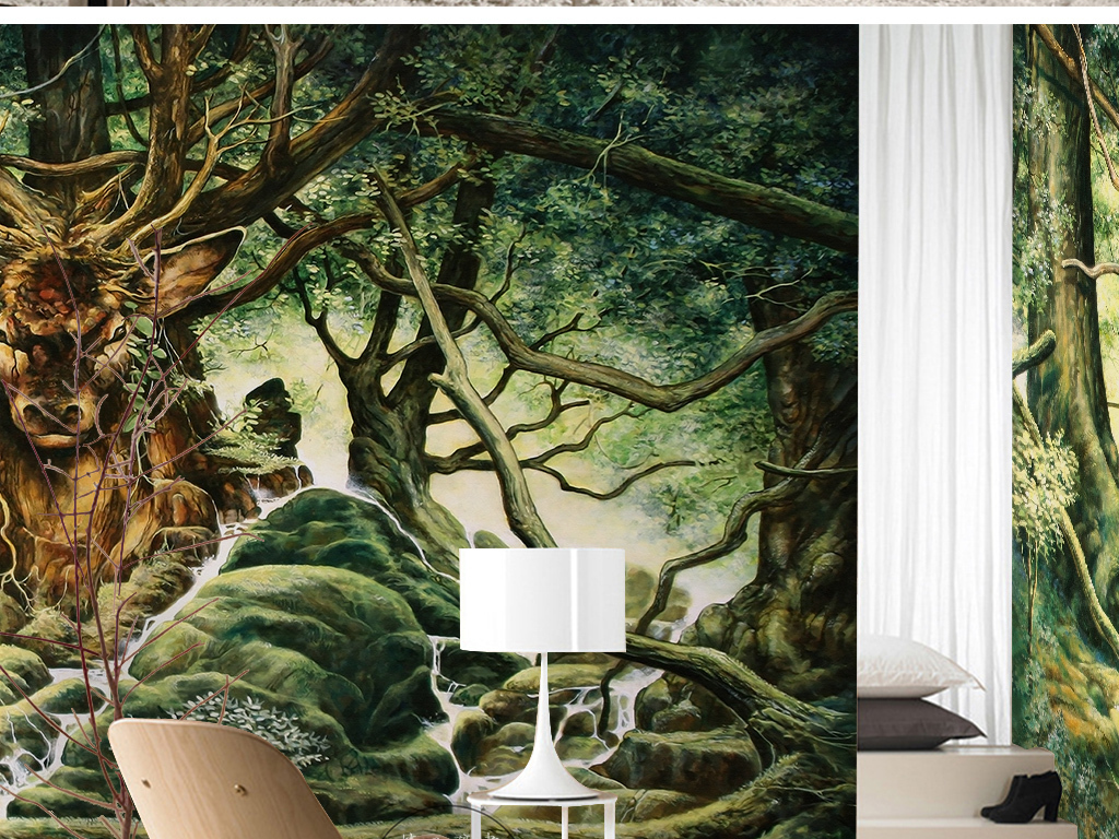 绿色梦幻唯美树林鹿山间小石手绘儿童背景墙