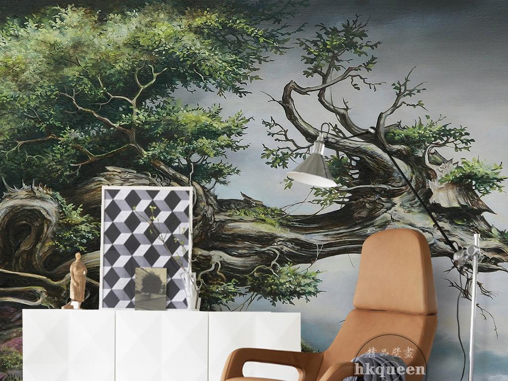 绿色抽象树木手绘唯美风景儿童房背景墙