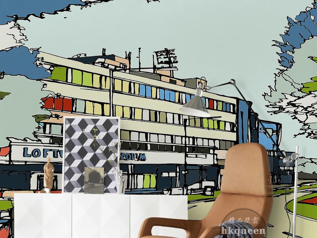 现代简约时尚手绘火车站建筑商铺背景墙