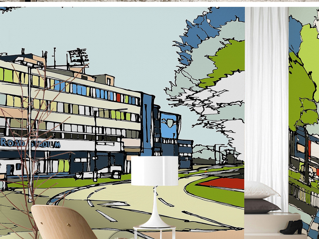 背景墙 电视背景墙 现代简约电视背景墙 > 现代简约时尚手绘火车站