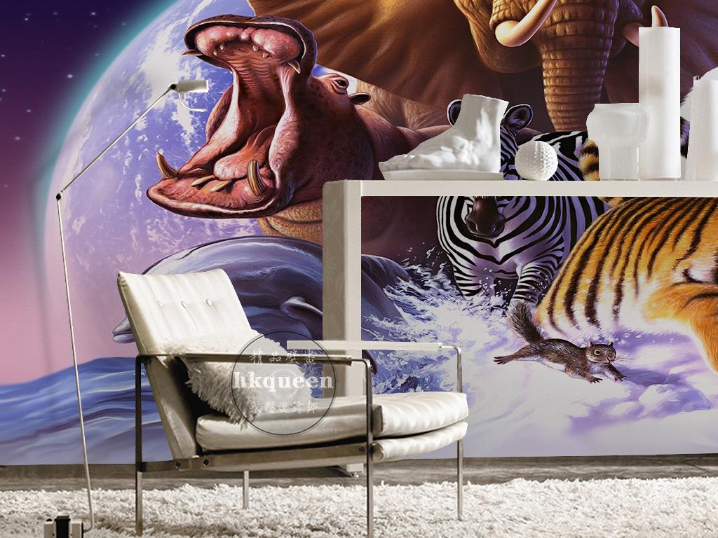 梦幻宇宙星空海洋动物世界卡通大象背景墙